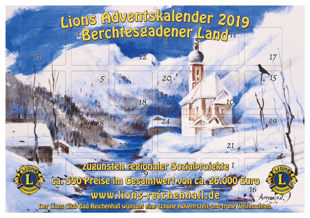 Lions-Adventskalender 2019 Berchtesgadener Land zugunsten von Sozialprojekten in der Region