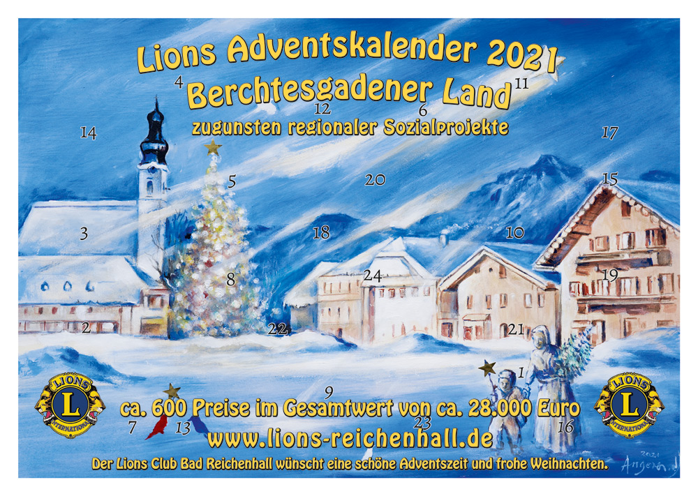 Lions-Adventskalender 2021 Berchtesgadener Land zugunsten von Sozialprojekten in der Region